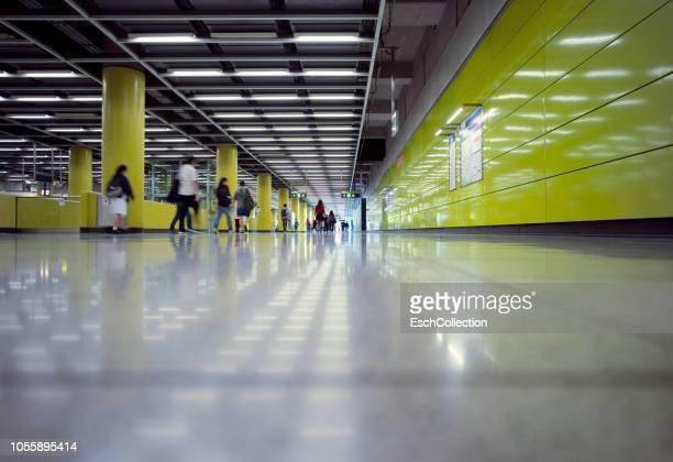Morning commute at modern train station in Hong Kong