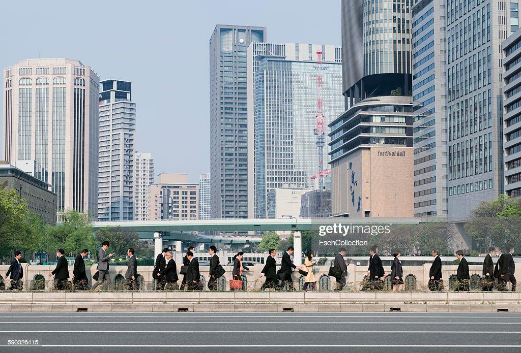 Morning commute at the heart of Osaka, Japan : Stock Photo