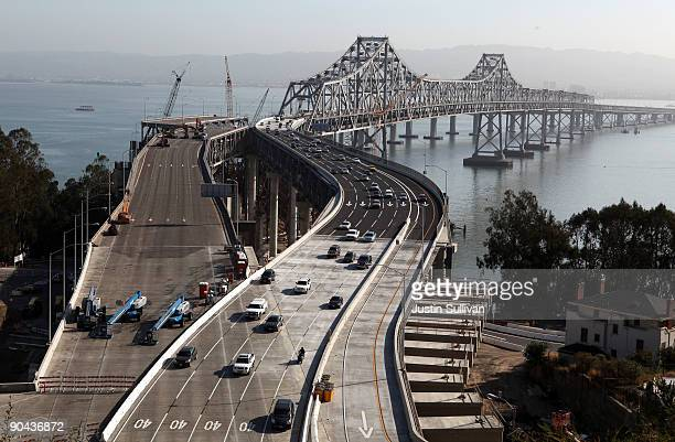 Morning commute traffic moves westbound on the San Francisco Bay Bridge across a newly added section of roadway September 8 2009 in San Francisco...