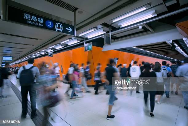 Morning commuters using subway in Hong Kong
