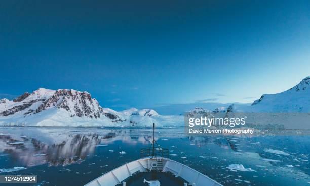 morning cruise on the antarctic peninsula - antarctic sound stockfoto's en -beelden