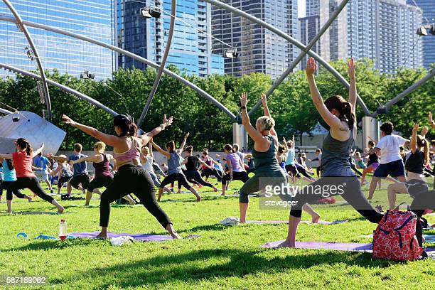 Morning Exercise in Millennium Park, Chicago