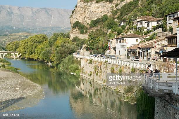 morning fishing on river osum - berat, albania - albanië stockfoto's en -beelden