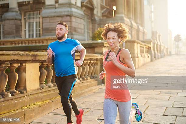 morning fitness joggers - liverpool training stock pictures, royalty-free photos & images