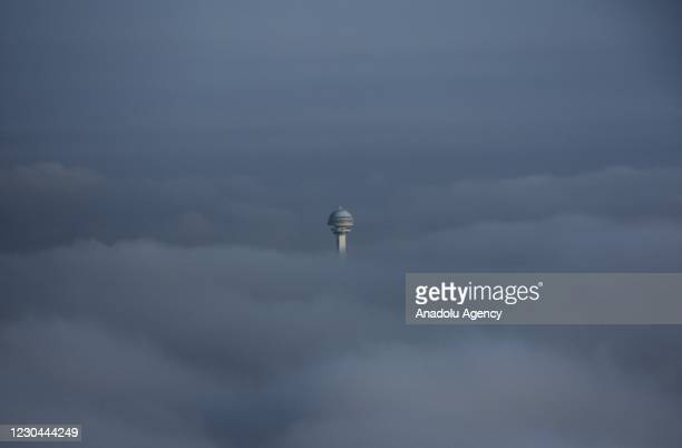 Morning fog covers Atakule and its surroundings in Ankara, Turkey on January 6, 2021.
