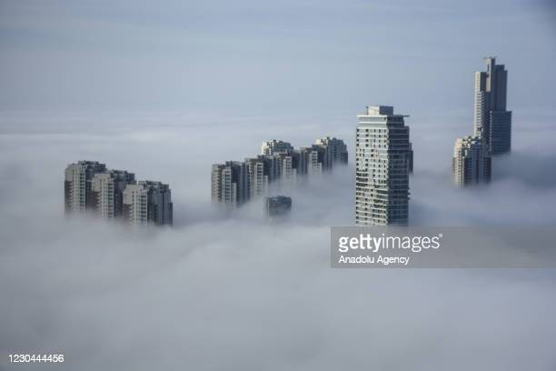 Morning fog covers Cankaya district and its surroundings in Ankara, Turkey on January 6, 2021.