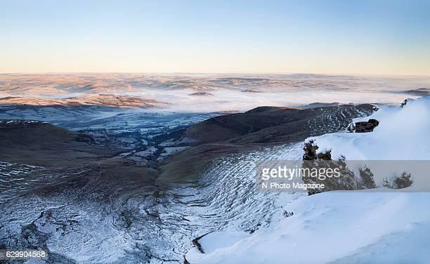 Morning fog on the hills below Corn Du mountain in south Wales taken on January 20 2016