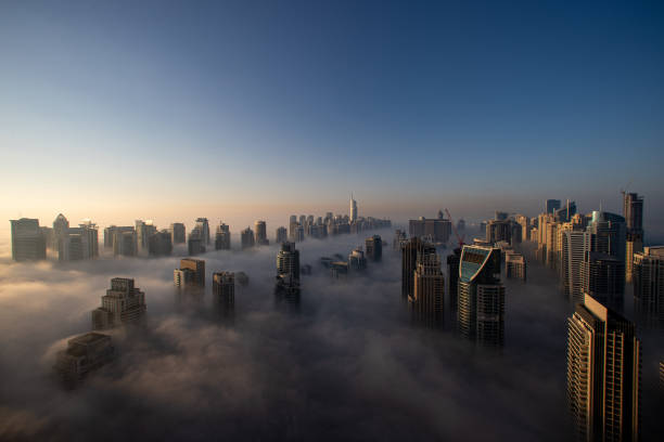 ARE: Dubai City Skyline in Dense Fog