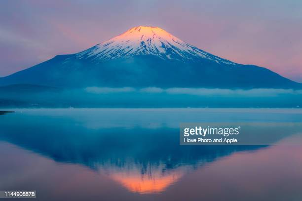 morning fuji reflection - unesco world heritage site stock pictures, royalty-free photos & images