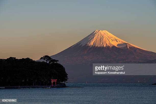 Morning Fujisan and Torii of Heda city