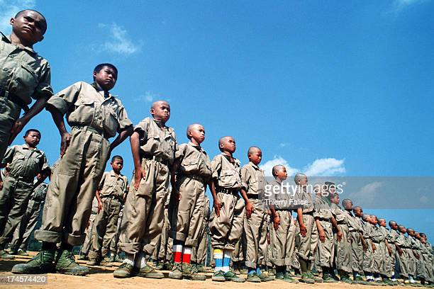 A morning gathering of childsoldiers from druglord Khun Sa's Mong Tai Army