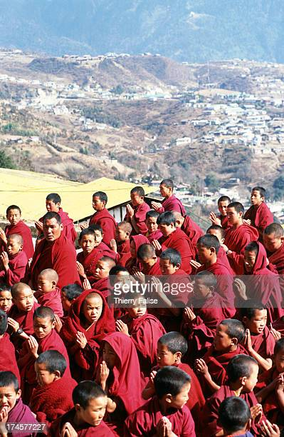 Morning gathering of the novices at the Tawang monastery in front of the Center of cultural buddhist studies the main Buddhist school of the...