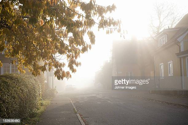 Morning haze in residential district