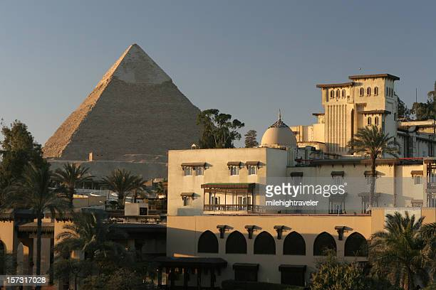 Morning in Cairo city near Egyptian Khafre Pyramid of Chephren