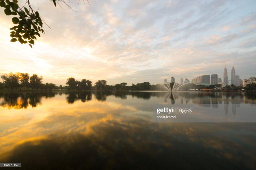 Morning in lake Titiwangsa : Stock Photo