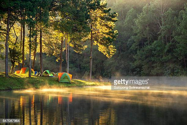 morning in pang oung with the light and shadow and steam over the lake in meahongson,Thailand