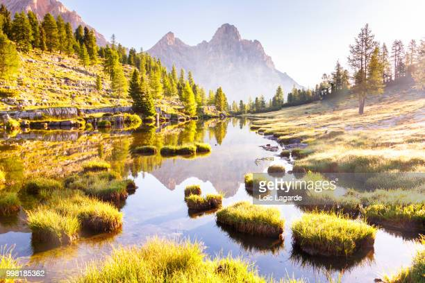 a morning in the dolomites - lagarde stock photos and pictures