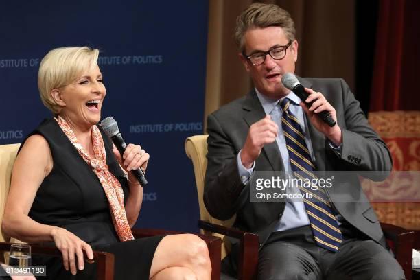 MSNBC 'Morning Joe' hosts Joe Scarborough and Mika Brzezinski are interviewed by philanthropist and financier David Rubenstein during a Harvard...