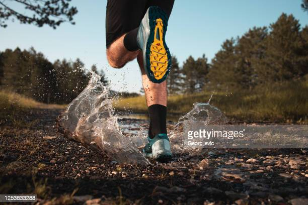 morning jogging in a forest - sports footwear stock pictures, royalty-free photos & images