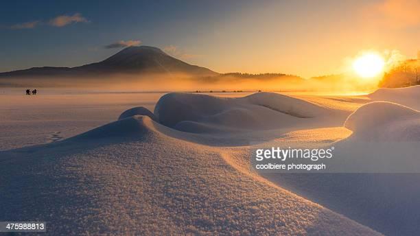 Morning landscape of frozen Akan lake