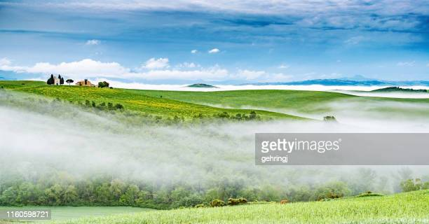 morning landscape of tuscany with small chapel - capella di vitaleta stock pictures, royalty-free photos & images