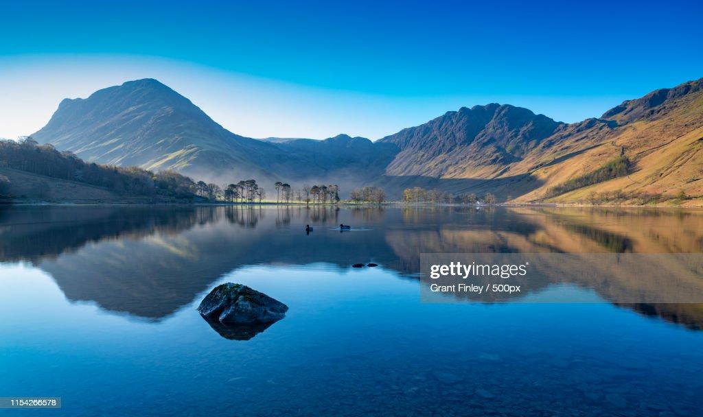 Morning light at the lake : Stock Photo