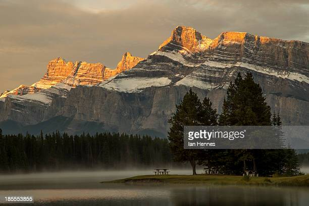 Morning light illuminating Mt. Rundle