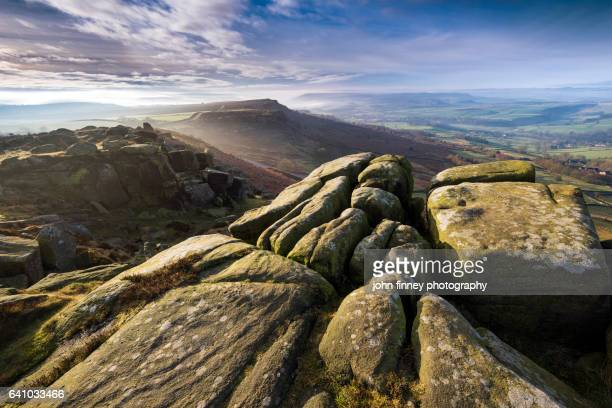 Morning light on Curbar Edge near Hathersage in the English peak District. UK.