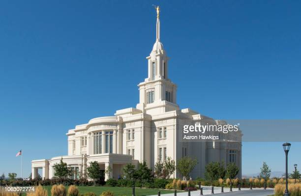morning light on payson temple - religious service stock pictures, royalty-free photos & images