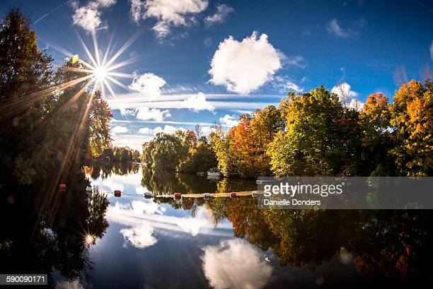 """morning light on the rideau river in autumn - """"danielle donders"""" stock pictures, royalty-free photos & images"""