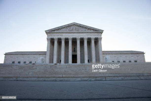 Morning light shines outside The United States Supreme Court building on March 20 2017 in Washington DC The Senate will hold a confirmation hearing...