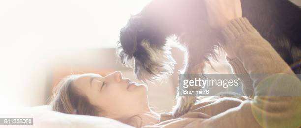 Morning love-women and dog