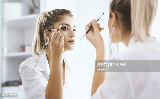 morning makeup. - eye make up stock photos and pictures