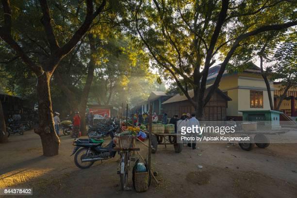 Morning market at Yong U Market with sun ray, Bagan, Myanmar
