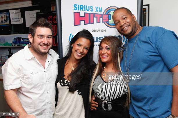 Morning Mash Up hosts Ryan Sampson Nicole Bigging and Stanley T pose with Deena Cortese at the SiriusXM Studios on August 18 2011 in New York City