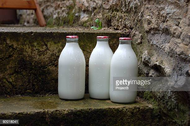 morning milk bottles on door step - milk bottle stock pictures, royalty-free photos & images