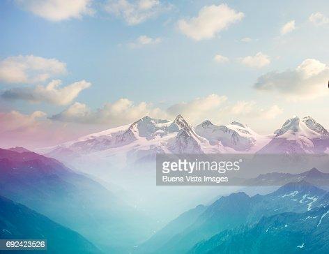 Morning mist in an alpine valley