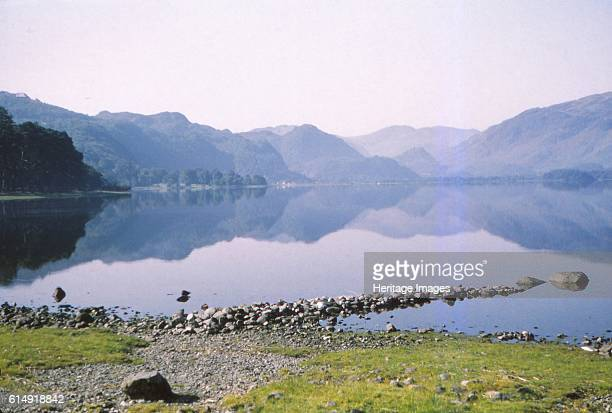 Morning mist in Derwentwater towards the 'Jaws of Borrowdale' Cumberland 20th century The dramatic name was coined by early visitors to the valley...