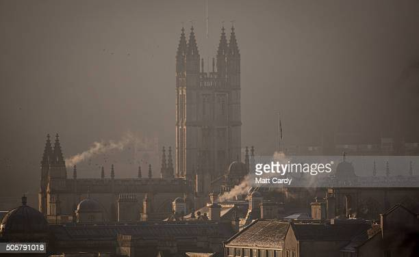Morning mist lingers around the Bath Abbey on January 20 2016 in Bath England Many parts of the UK experienced subzero temperatures last night with...
