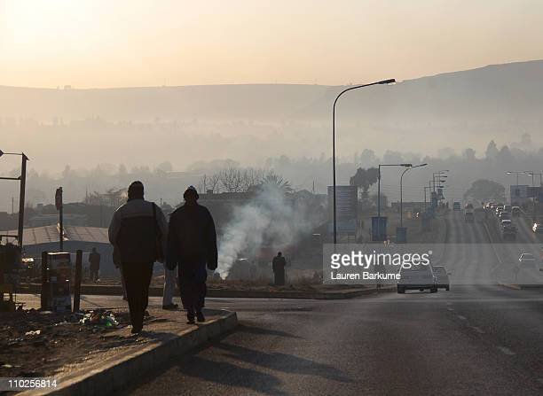 morning mist over maseru - maseru stock photos and pictures