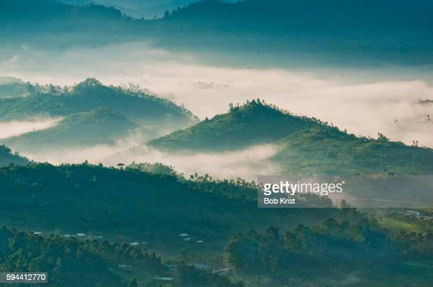 Morning mist over valleys around Kigali