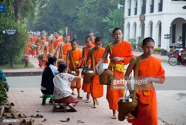 Morning monk procession in Luang Prabang, Laos