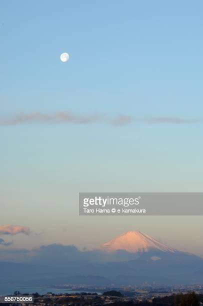 Morning moon on Mt. Fuji in Japan
