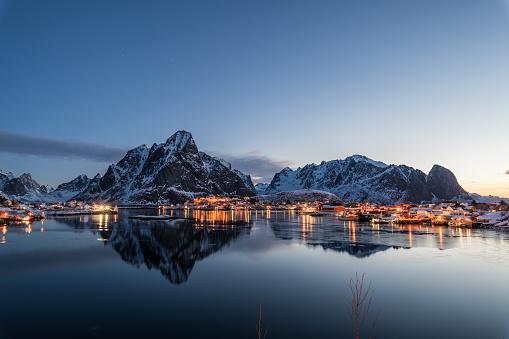 morning of Reine Lofoten in winter reflections on water - gettyimageskorea