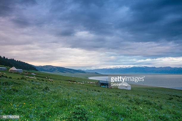 Morning of Sayram lake