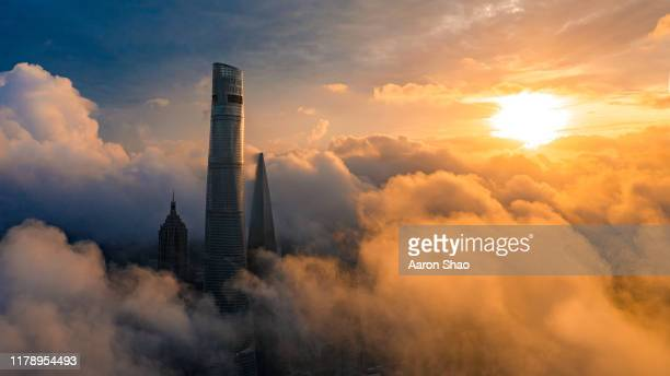 morning of shanghai - clear sky stock pictures, royalty-free photos & images