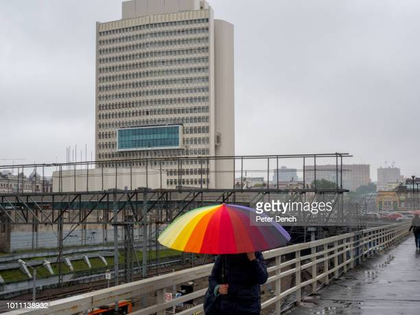 Morning on a wet day at Vladivostok railway station Vladivostok is a major Pacific port city in Russia overlooking Golden Horn Bay near the borders...