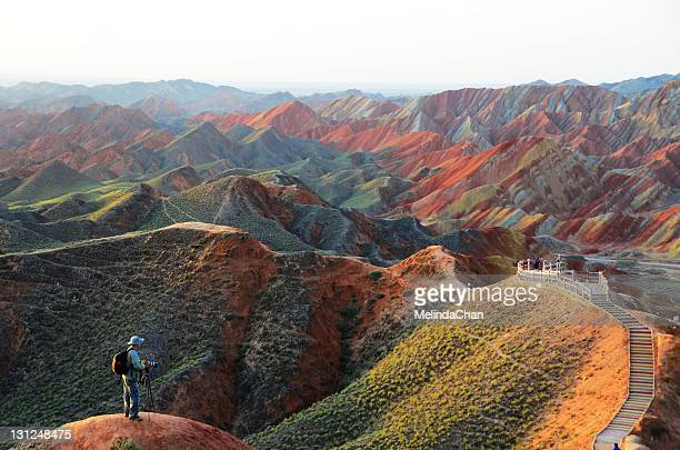 morning  on danxia landform - gansu province stock pictures, royalty-free photos & images