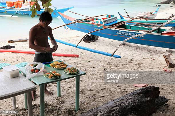 morning on the beach in el nido - filipino culture stock pictures, royalty-free photos & images