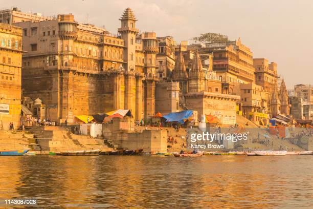 morning on the ganges river in varanasi india. - varanasi stock pictures, royalty-free photos & images